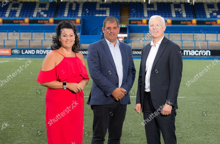 Hayley Parsons with Cardiff Blues Chief Executive Richard Holland, centre, and Andrew Williams