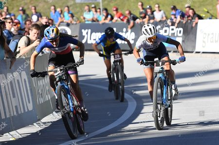 Pauline Ferrand Prevot of France in front of Jolanda Neff of Switzerland and Jenny Rissveds of Sweden during the Women's Elite Short Track at the UCI Cross Country Mountainbike World Cup, on Friday, August 9, 2019, in Lenzerheide, Switzerland.