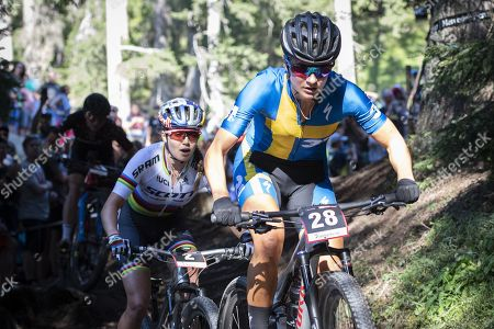 Jenny Rissveds of Sweden in action during the UCI Mountain Bike World Cup Short Track race in Lenzerheide, Switzerland, 09 August 2019.