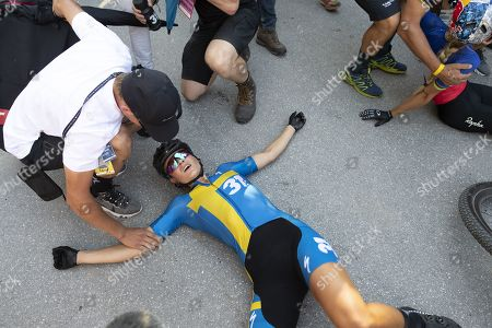Jenny Rissveds of Sweden reacts after the UCI Mountain Bike World Cup Short Track race in Lenzerheide, Switzerland, 09 August 2019.