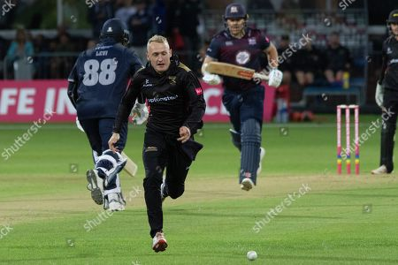 Callum Parkinson chases down a shot from Richard Levi during the Vitality T20 Blast North Group match between Leicestershire Foxes and Northants Steelbacks at the Fischer County Ground, Grace Road, Leicester
