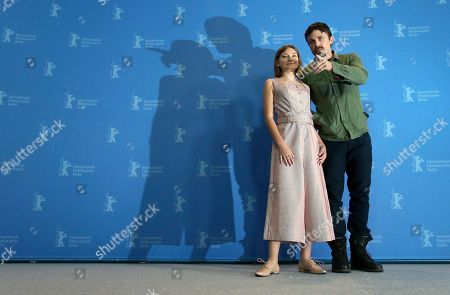 Actor Casey Affleck and actress Anna Pniowsky pose for the photographers during a photo call for the film 'Light of My Life' at the 2019 Berlinale Film Festival in Berlin, Germany