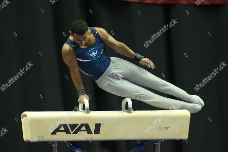 Gymnast Trevor Howard of Ohio State competes during the first day of men's gymnastics competition at the U.S. Championships, held in Kansas City, MO. Melissa J