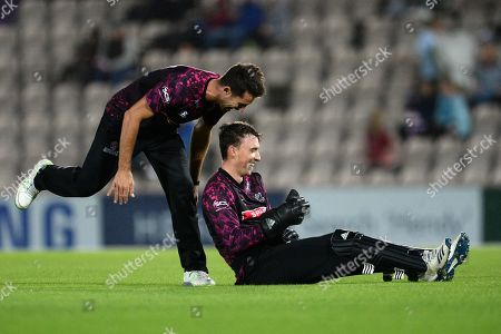 Stock Photo of Tim Groenewld of Somerset and Tom Banton of Somerset celebrate the wicket of Chris Morris during the Vitality T20 Blast South Group match between Hampshire County Cricket Club and Somerset County Cricket Club at the Ageas Bowl, Southampton