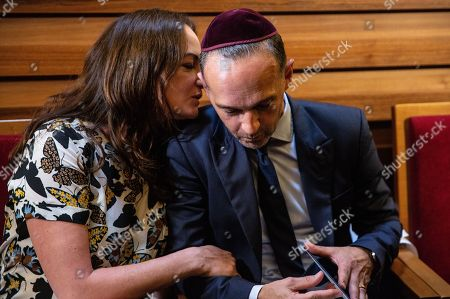 German Minister of Foreign Affairs Heiko Maas (R) and his  partner actress Natalia Woerner prior to a prayer service organized in solidarity with Rabbi Yehuda Teichtal at the Chabad Lubavitch synagogue in Berlin, Germany, 09 August 2019. According to reports, Rabbi Teichtal and his son were insulted and spat by two men as they were leaving after a service in a synagogue in Wilmersdorf neighborhood in Berlin on 26 July. Police is investigating the incident.