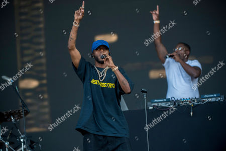 6lack performs during his concert at the Sziget (Island) Festival on Shipyard Island, Northern Budapest, Hungary, 09 August 2019. The festival is one of the biggest cultural events of Europe offering art exhibitions, theatrical and circus performances and above all music concerts in seven days.
