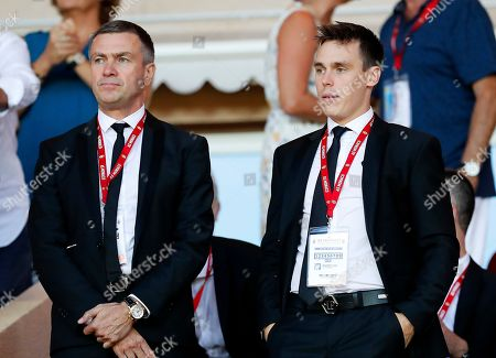 AS Monaco's general director Oleg Petrov (L) and Louis Ducruet (R), son of Princess Stephanie of Monaco, attend the French Ligue 1 soccer match between AS Monaco and Olympique Lyon in Monaco, 09 August 2019.