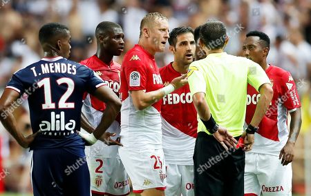 Cesc Fabregas (3-R) of AS Monaco is sent off by French referee Ruddy Buquet (2-R) during the French Ligue 1 soccer match between AS Monaco and Olympique Lyon in Monaco, 09 August 2019.