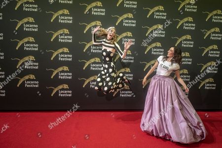 Dutch directors and actresses Dawn Luebbe (L) and Jocelyn DeBoer on the red carpet at the Piazza Grande during the 72nd Locarno International Film Festival, in Locarno, Switzerland, 09 August 2019. The Festival del film Locarno runs from 07 to 17 August.
