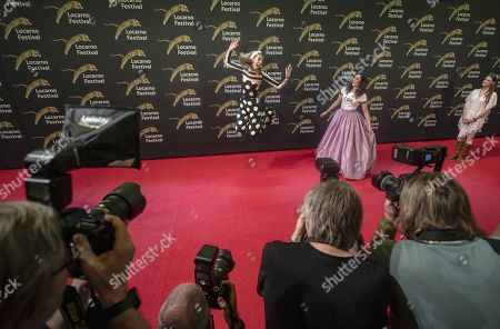 Dutch directors and actresses Dawn Luebbe (L) and Jocelyn DeBoer (C) on the red carpet at the Piazza Grande during the 72nd Locarno International Film Festival, in Locarno, Switzerland, 09 August 2019. The Festival del film Locarno runs from 07 to 17 August.