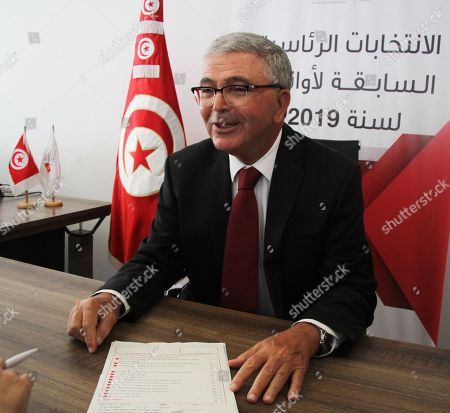 Tunisian Defence Minister Abdelkarim Zbidi is pictured as he submits his candidacy