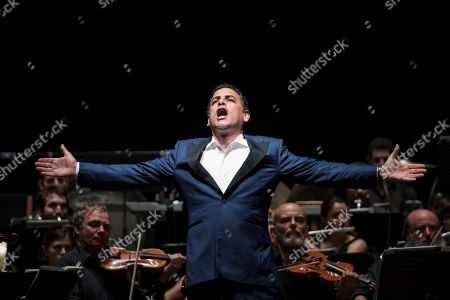 Peru's tenor Juan Diego Florez performs on stage during the Peralada Festival concert played in Girona, Catalonia, Spain, 09 August 2019.