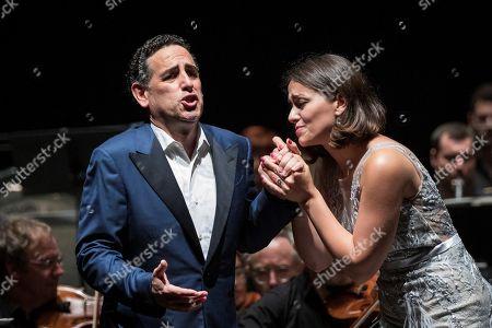 Peru's tenor Juan Diego Florez (L) and Armenian soprano Ruzan Mantashyan (R) perform on stage during the Peralada's Festival concert played in Girona, Catalonia, Spain, 09 August 2019.