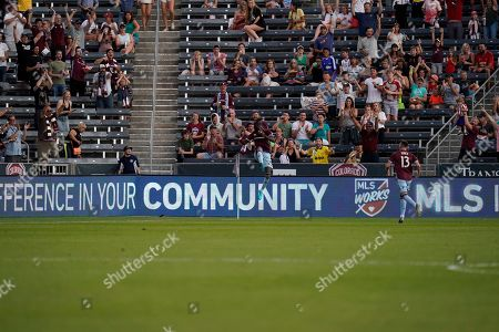Colorado Rapids forward Kei Kamara celebrates a goal against the Montreal Impact during the first half of an MLS soccer match, in Commerce City, Colo