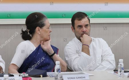 United Progressive Alliance (UPA) chairperson Sonia Gandhi (L) and Indian National Congress (INC) Party member Rahul Gandhi (R) attend a Congress Working Committee (CWC) meeting at the party's headquarters in New Delhi, India, 10 August 2019. According to a news report, Indian National Congress Party is likely to decide its new party president after the consulation among the CWC members.