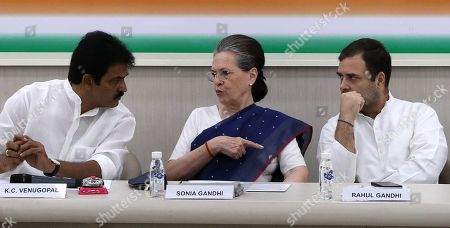 United Progressive Alliance (UPA) chairperson Sonia Gandhi (C), Indian National Congress (INC) Party member Rahul Gandhi (R) and Congress Party senior leader K.C. Venugopal(L) attend a Congress Working Committee (CWC) meeting at the party's headquarters in New Delhi, India, 10 August 2019. According to a news report, Indian National Congress Party is likely to decide its new party president after the consulation among the CWC members.