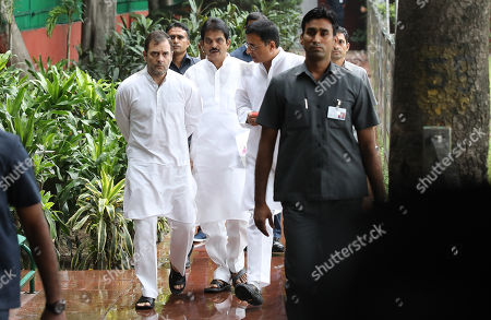 Indian National Congress (INC) Party member Rahul Gandhi (L) along with other senior leaders arrive to attend a Congress Working Committee (CWC) meeting at the party's headquarters in New Delhi, India, 10 August 2019. According to a news report, Indian National Congress Party is likely to decide its new party president after the consulation among the CWC members.