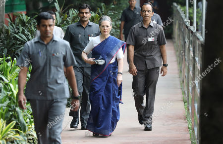 United Progressive Alliance (UPA) chairperson Sonia Gandhi arrives to attend a Congress Working Committee (CWC) meeting at the party's headquarters in New Delhi, India, 10 August 2019. According to a news report, Indian National Congress Party is likely to decide its new party president after the consulation among the CWC members.