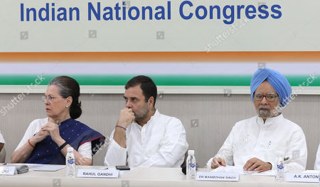United Progressive Alliance (UPA) chairperson Sonia Gandhi (L), Indian National Congress (INC) Party member Rahul Gandhi (C) and former Indian Prime Minister Manmohan Singh (R) attend a Congress Working Committee (CWC) meeting at the party's headquarters in New Delhi, India, 10 August 2019. According to a news report, Indian National Congress Party is likely to decide its new party president after the consulation among the CWC members.