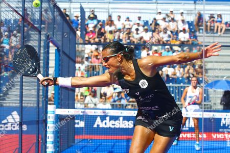 Stock Photo of Portugal's Ana Nogueira in action during their Cervezas Victoria Mijas Padel Open 2019 semifinal match against Marta Ortega and Marta Marrero at Cala de Mijas fair center in Malaga, Andalusia, Spain, 10 August 2019.