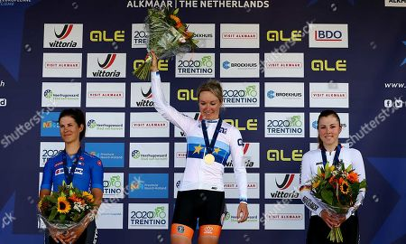Winner Dutch Amy Pieters (C) on the podium after the road race at the European Championships cycling. Left Lisa Klein (Germany, second) and Elan Cecchini (Italy, third) in Alkmaar, The Netherlands, 10 August  2019.
