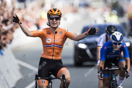 Dutch Amy Pieters wins the women's elite road race ahead of Elena Cecchini (Italy, R,second) and Lisa Klein (Germany) at the European Cycling Championship in Alkmaar, The Netherlands, 10 August, 2019.