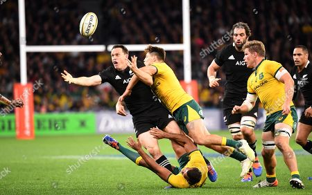 James O'Connor of the Wallabies tackles Ben Smith of the All Blacks   during the Bledisloe Cup match between the Australian Wallabies and the New Zealand All Blacks at Optus Stadium in Perth, Australia, August 10, 2019.