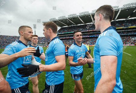 Dublin vs Mayo. Dublin's Jonny Cooper, Dean Rock, Niall Scully and Brian Fenton celebrate after the game