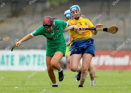 10/8/2019. Roscommon vs Limerick. Limerick's Grace Lee with Emer McNally of Roscommon
