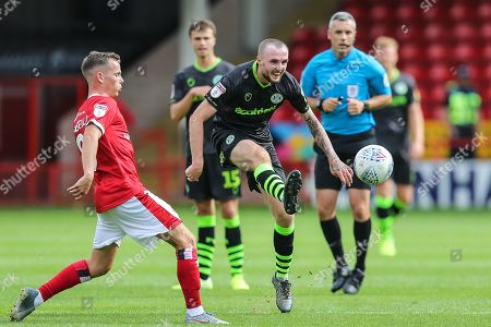 Forest Green Rovers Carl Winchester(7) passes the ball forward during the EFL Sky Bet League 2 match between Walsall and Forest Green Rovers at the Banks's Stadium, Walsall