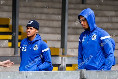Stock Photo of Kyle Bennett and Jonson Clarke-Harris of Bristol Rovers arrive