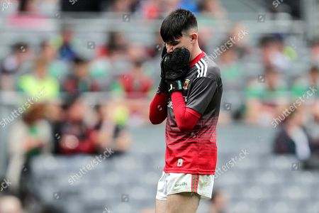 Cork vs Mayo. Mayo goalkeeper Luke Jennings dejected in the final minutes of the game