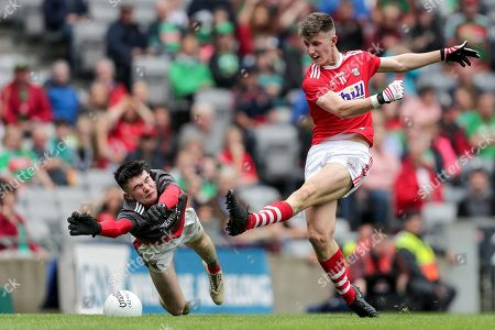Stock Picture of Cork vs Mayo. Cork's Conor Corbett is blocked by Mayo goalkeeper Luke Jennings