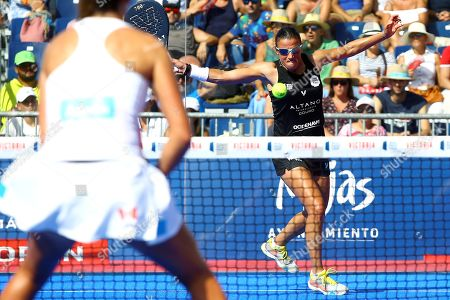 Portugal's Ana Nogueira in action during their Cervezas Victoria Mijas Padel Open 2019 semifinal match against Marta Ortega and Marta Marrero at Cala de Mijas fair center in Malaga, Andalusia, Spain, 10 August 2019.