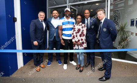 QPR Commercial and Marketing -  Kiyan Prince's parents (Mark Prince in the Cap & Tracy Cumberbatch) cut the ribbon as Loftus Road is renamed The Kiyan Prince Foundation Stadium with Andy Sinton, Ruben Gnanalingam, Les Ferdinand & Lee Hoos