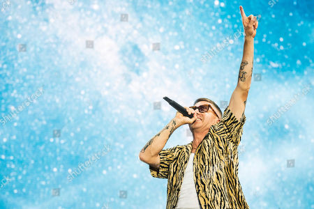 Macklemore performs during his concert on the main stage of the Sziget (Island) Festival on Shipyard Island, Northern Budapest, Hungary, 10 August 2019 (issued 11 August 2019). The festival is one of the biggest cultural events of Europe offering art exhibitions, theatrical and circus performances and above all music concerts in seven days.