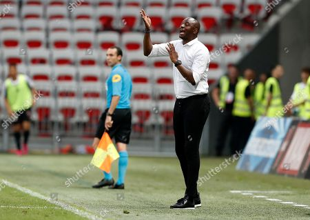 OGC Nice's French head coach Patrick Vieira gestures  during the French Ligue 1 soccer match, OGC Nice vs Amiens SC, at the Allianz Riviera stadium, in Nice, France, 10 August 2019.