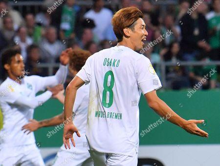 Bremen's Yuya Osako reacts during the German DFB Cup 1st round match between Atlas Delmenhorst and SV Werder Bremen in Bremen, Germany, 10 August 2019.