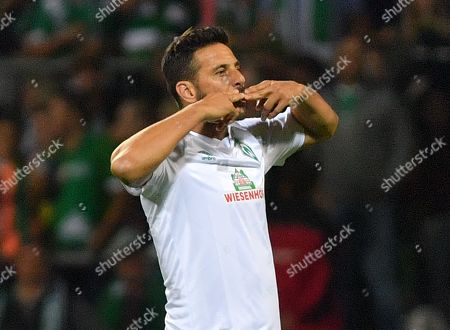 Bremen's Claudio Pizarro celebrates scoring a goal during the German DFB Cup 1st round match between Atlas Delmenhorst and SV Werder Bremen in Bremen, Germany, 10 August 2019.