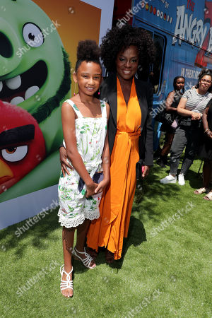 Genesis Tennon and Viola Davis at the Premiere of Columbia Pictures and Rovio Animations 'The Angry Birds Movie 2' at Regency Village Theatre, in theaters Tuesday, August 13'