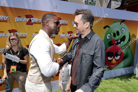 Sterling K. Brown and Jim Jefferies at the Premiere of Columbia Pictures and Rovio Animations 'The Angry Birds Movie 2' at Regency Village Theatre, in theaters Tuesday, August 13'