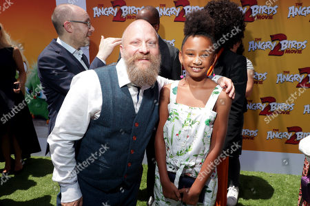 Thurop Van Orman, Director, and Genesis Tennon at the Premiere of Columbia Pictures and Rovio Animations 'The Angry Birds Movie 2' at Regency Village Theatre, in theaters Tuesday, August 13'