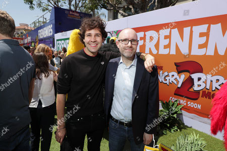 David Dobrik and John Cohen, Producer, at the Premiere of Columbia Pictures and Rovio Animations 'The Angry Birds Movie 2' at Regency Village Theatre, in theaters Tuesday, August 13'