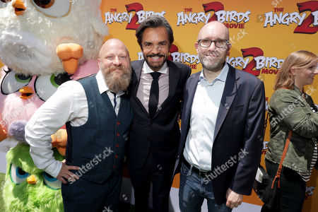 Thurop Van Orman, Director, Eugenio Derbez and John Cohen, Producer, at the Premiere of Columbia Pictures and Rovio Animations 'The Angry Birds Movie 2' at Regency Village Theatre, in theaters Tuesday, August 13'