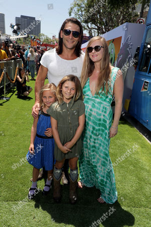 Zach McGowan, Emily Johnson and family at the Premiere of Columbia Pictures and Rovio Animations 'The Angry Birds Movie 2' at Regency Village Theatre, in theaters Tuesday, August 13'