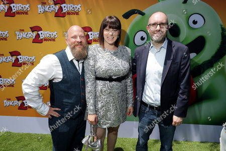 Thurop Van Orman, Director, Rachel Bloom and John Cohen, Producer, at the Premiere of Columbia Pictures and Rovio Animations 'The Angry Birds Movie 2' at Regency Village Theatre, in theaters Tuesday, August 13'