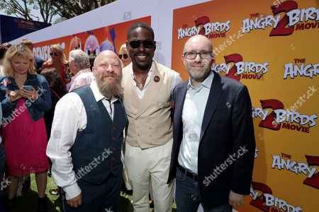 Thurop Van Orman, Director, Sterling K. Brown and John Cohen, Producer, at the Premiere of Columbia Pictures and Rovio Animations 'The Angry Birds Movie 2' at Regency Village Theatre, in theaters Tuesday, August 13'