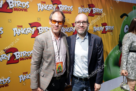 Sanford Panitch, President, Columbia Pictures, Sony Pictures Entertainment, and John Cohen, Producer, at the Premiere of Columbia Pictures and Rovio Animations 'The Angry Birds Movie 2' at Regency Village Theatre, in theaters Tuesday, August 13'