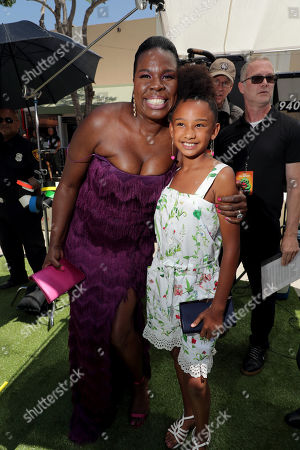 Stock Picture of Leslie Jones and Genesis Tennon at the Premiere of Columbia Pictures and Rovio Animations' 'The Angry Birds Movie 2' at Regency Village Theatre, in theaters Tuesday, August 13'