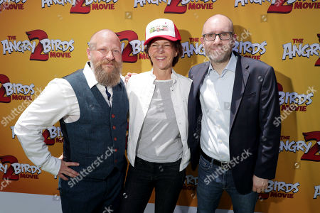 Thurop Van Orman, Director, Kristine Belson, President, Sony Pictures Animation, and John Cohen, Producer, at the Premiere of Columbia Pictures and Rovio Animations' 'The Angry Birds Movie 2' at Regency Village Theatre, in theaters Tuesday, August 13'